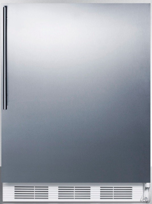 AccuCold AL650SSHV 5.1 cu. ft. Compact Refrigerator with Adjustable Glass Shelves Manual Defrost Freezer Door Storage Fruit Vegetable Crisper and ADA Compliant Stainless Door with Vertical Thin Handle