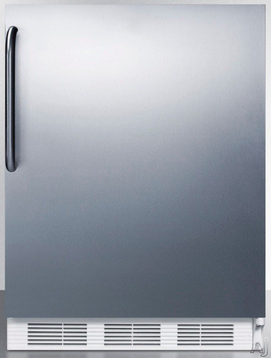 AccuCold AL650SSTB 5.1 cu. ft. Compact Refrigerator with Adjustable Glass Shelves Manual Defrost Freezer Door Storage Fruit Vegetable Crisper and ADA Compliant Stainless Door with Pro Handle