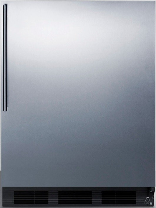 AccuCold AL652BBISSHV 24 Inch Built In Under Counter Refrigerator with 5.1 cu. ft. Capacity 3 Adjustable Glass Shelves Freezer Compartment Crisper and ADA Compliant Stainless Steel Door with Thin Pro