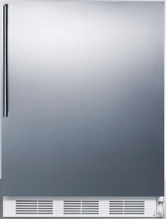 AccuCold AL750BISSHV 24 Inch Compact All Refrigerator with Adjustable Glass Shelves Automatic Defrost Interior Light and ADA Compliant Stainless Door with Vertical Thin Handle