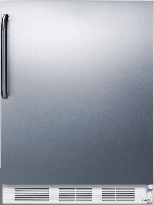 AccuCold AL750CSS 24 Inch Compact All Refrigerator with Adjustable Glass Shelves Automatic Defrost Interior Light and ADA Compliant Stainless Cabinet with Pro Handle