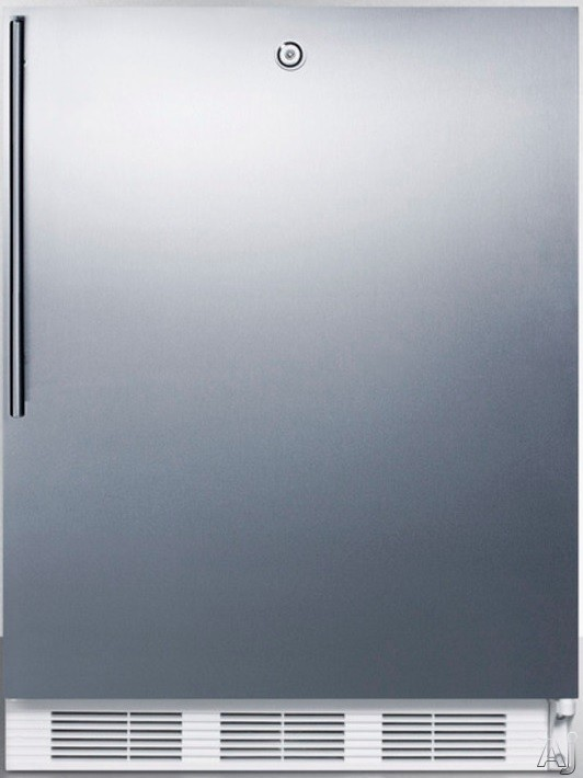 AccuCold AL750LBISSHV 24 Inch Compact All Refrigerator with Adjustable Glass Shelves Automatic Defrost Interior Light Door Lock and ADA Compliant Stainless Door with Vertical Thin Handle