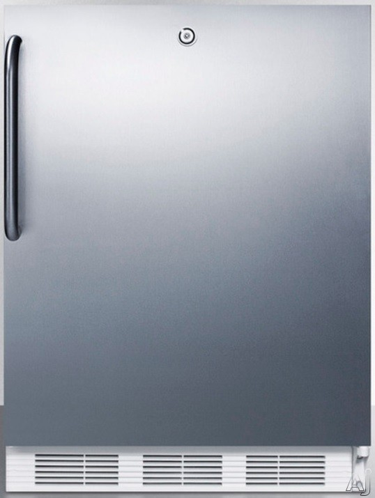 AccuCold AL750LBISSTB 24 Inch Compact All Refrigerator with Adjustable Glass Shelves Automatic Defrost Interior Light Door Lock and ADA Compliant Stainless Door with Pro Handle