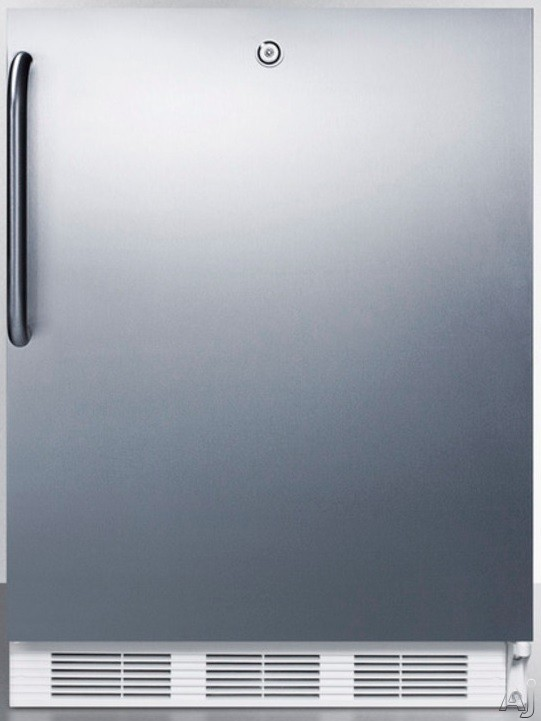 AccuCold AL750LCSS 24 Inch Compact All Refrigerator with Adjustable Glass Shelves Automatic Defrost Interior Light Door Lock and ADA Compliant Stainless Cabinet with Pro Handle