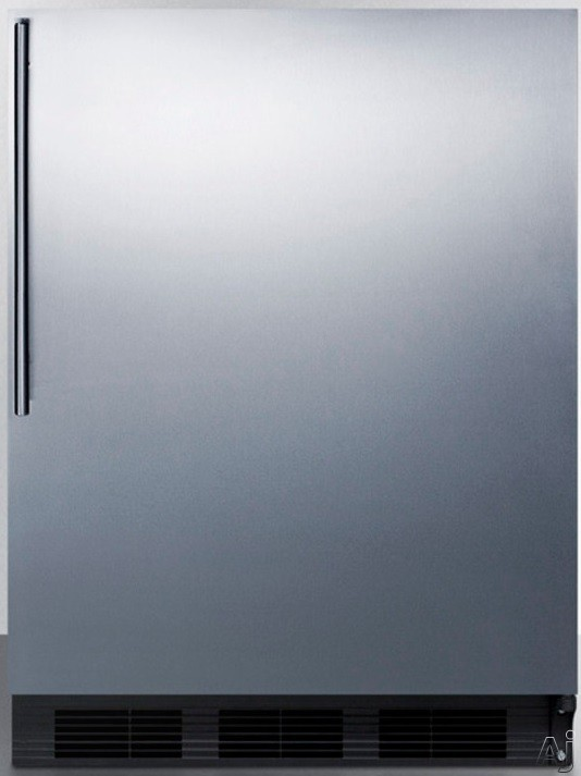 AccuCold AL752BBISSHV 24 Inch Compact All-Refrigerator with Adjustable Glass Shelves, Automatic Defrost, Interior Light and ADA Compliant: Stainless Door with Vertical Thin Handle