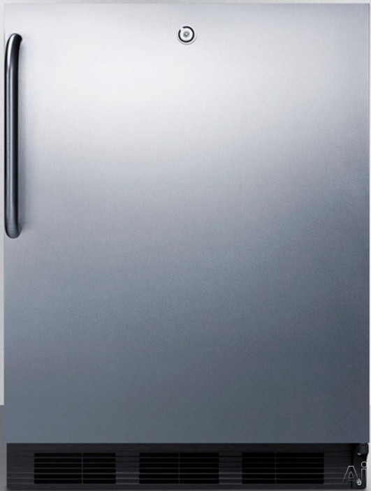 AccuCold ALB753LBLCSS 24 Inch Compact All-Refrigerator with Adjustable Glass Shelves, Automatic Defrost, Interior Light, Door Lock and ADA Compliant: Stainless Cabinet with Pro Handle