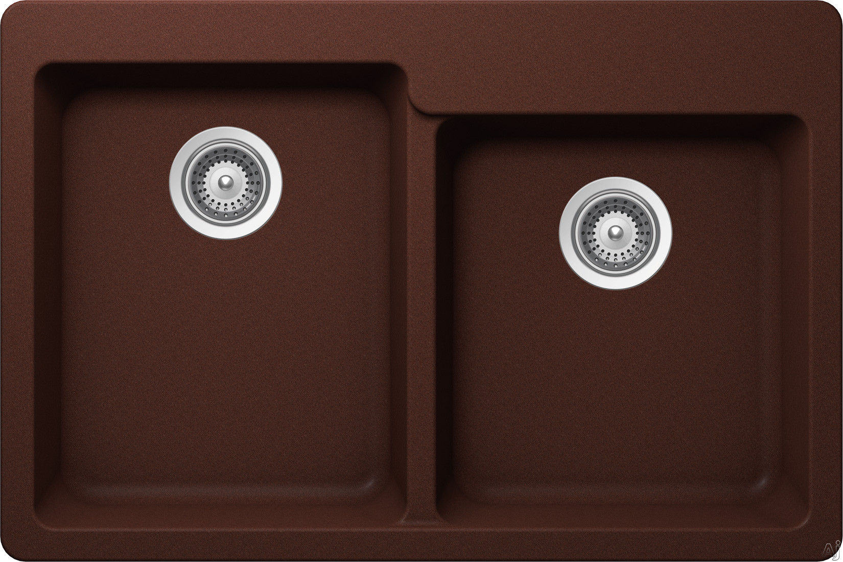 SCHOCK Alive Series ALIN175T009 33 Inch Drop in Kitchen Sink with 9 3 8 Inch Bowl Depth Two Bowls Granite Construction Rear Set Drains ProHygenic21 Surface and 4 Pre Scored Faucet Holes Cristalite Copper
