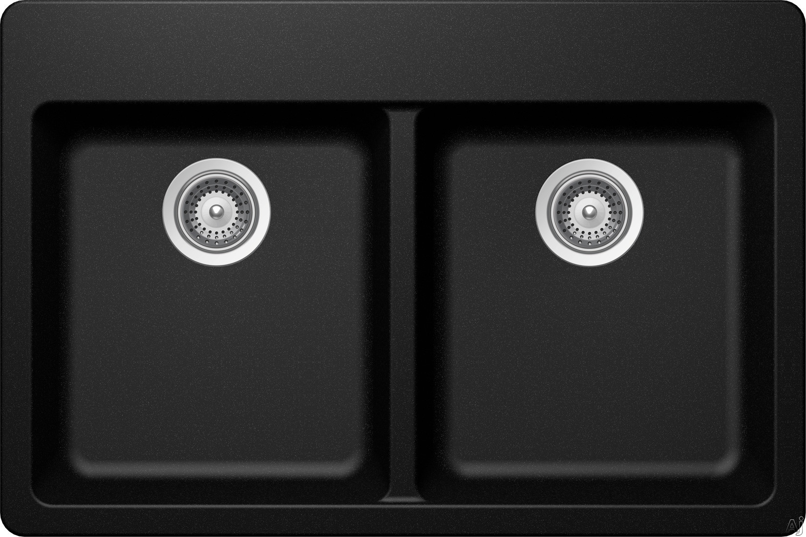 SCHOCK Alive Cristadur Smooth ALIN200TCD 33 Inch Drop In Kitchen Sink with 9 3 8 Inch Bowl Depth Two Equal Bowls Granite Construction ProHygienic21 Anti Microbial Surface and Rear Set Drains