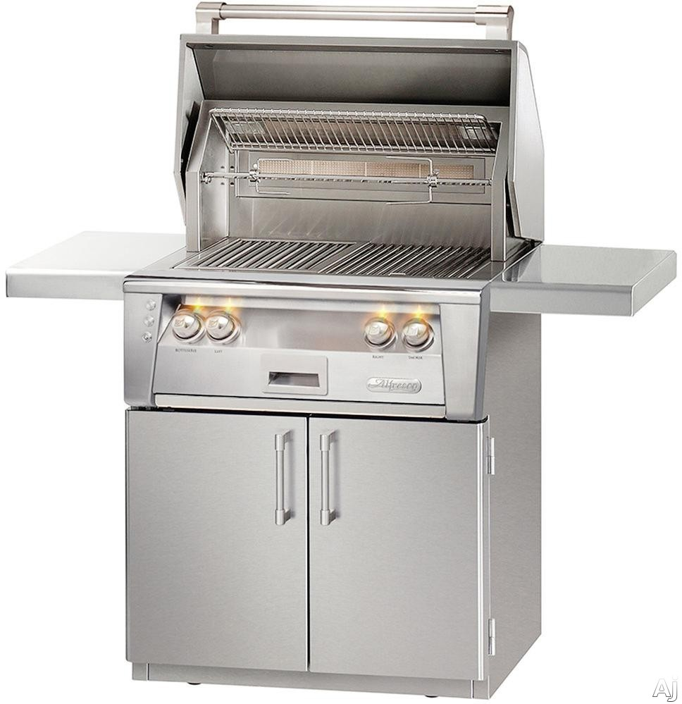 Alfresco ALXE30IRCLP 30 Inch Freestanding All Infrared Grill with 542 sq. in. Grilling Surface, Two 27,500 BTU Infrared Burners, Integrated Rotisserie, Smoker and Herb Infuser System, 3-Position Warmi