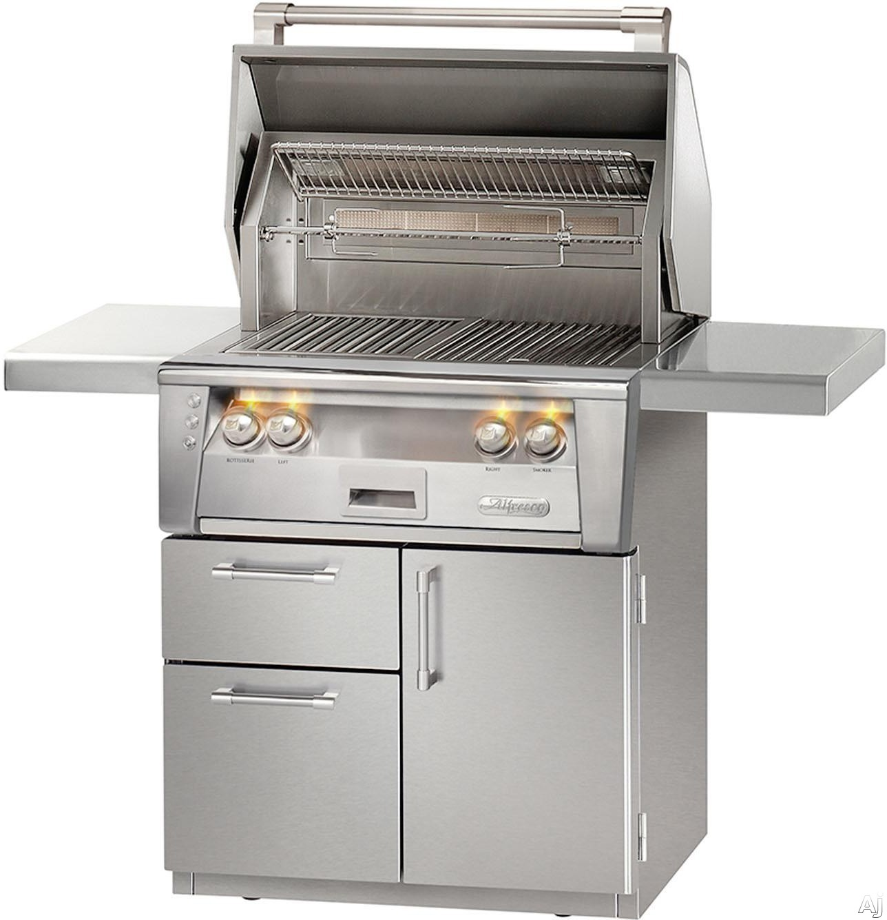 """Alfresco ALXE30SZCD 30 Inch Grill with 542 sq. in. Grilling Surface, Two 27,500 BTU Main Burners, Infrared Sear Zoneâ""""¢, Integrated Rotisserie, Smoker and Herb Infuser System, 3-Position Warming Rack, Halogen Lighting and Deluxe Cart"""