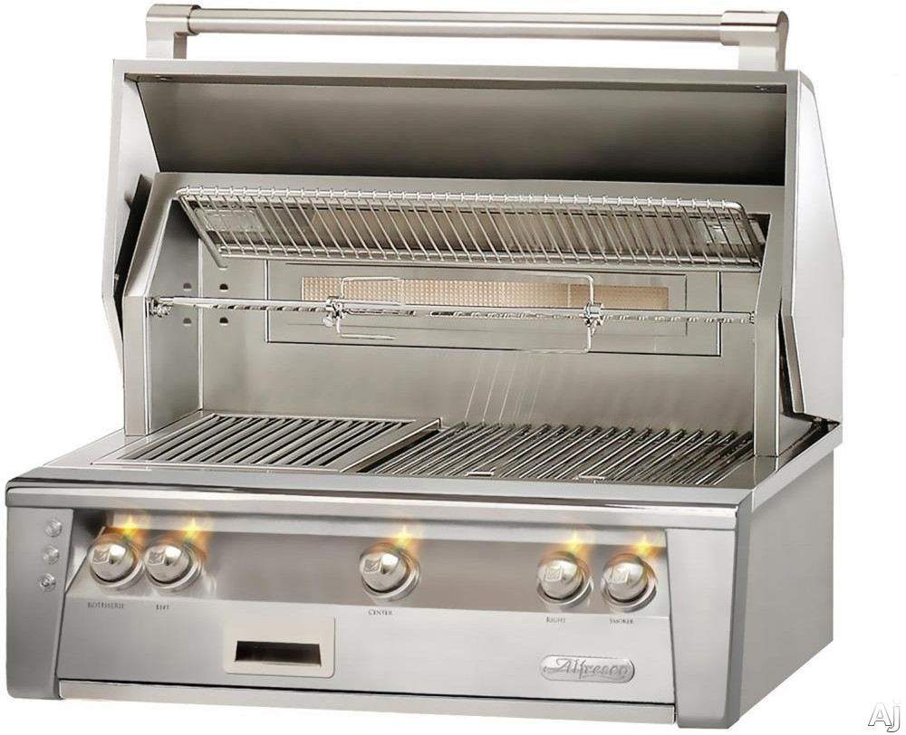 Alfresco ALXE36 36 Inch Built-In Grill with 660 sq. in. Grilling Surface, Three 27,500 BTU Burners, Integrated Rotisserie, Smoker and Herb Infuser System, 3-Position Warming Rack, Halogen Lighting, Nickel-Plated Control Knobs and Stainless Steel Grates