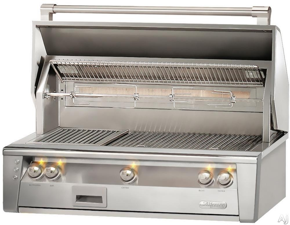 """Alfresco ALXE42SZ 42 Inch Built-In Grill with 770 sq. in. Grilling Surface, Three 27,500 BTU Burners, Infrared Sear Zoneâ""""¢, Integrated Rotisserie, Smoker and Herb Infuser System, 3-Position Warming Rack and Halogen Lighting"""