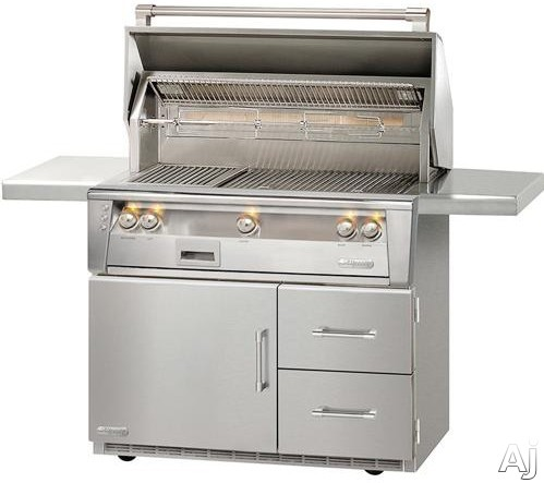"""Alfresco ALXE42SZRFG 42 Inch Grill with 770 sq. in. Grilling Surface, Three 27,500 BTU Burners, Infrared Sear Zoneâ""""¢, Integrated Rotisserie, Smoker and Herb Infuser System, 3-Position Warming Rack, Halogen Lighting and Refrigerated Cart"""