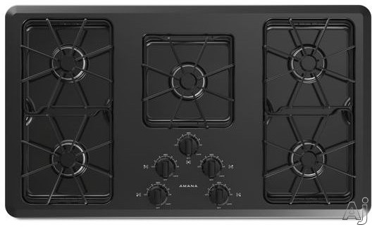Amana AGC6356KF 36 Inch Gas Cooktop with 5 Sealed Burners, Front Controls and Dishwasher Safe Grates and Knobs