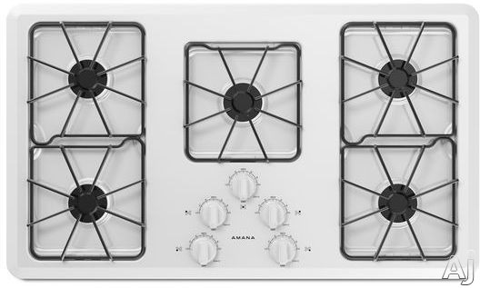 Amana AGC6356KFW 36 Inch Gas Cooktop with 5 Sealed Burners, Front Controls and Dishwasher Safe Grates and Knobs: White