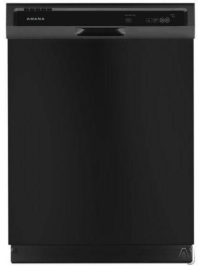 Amana ADB1400AGB Full Console Dishwasher with Triple Filter Wash 1 Hour Wash Heated Dry Option 3 Wash Cycles 2 Options High Temperature Option 12 Place Setting Capacity Silence Rating of 63 dBA and EN