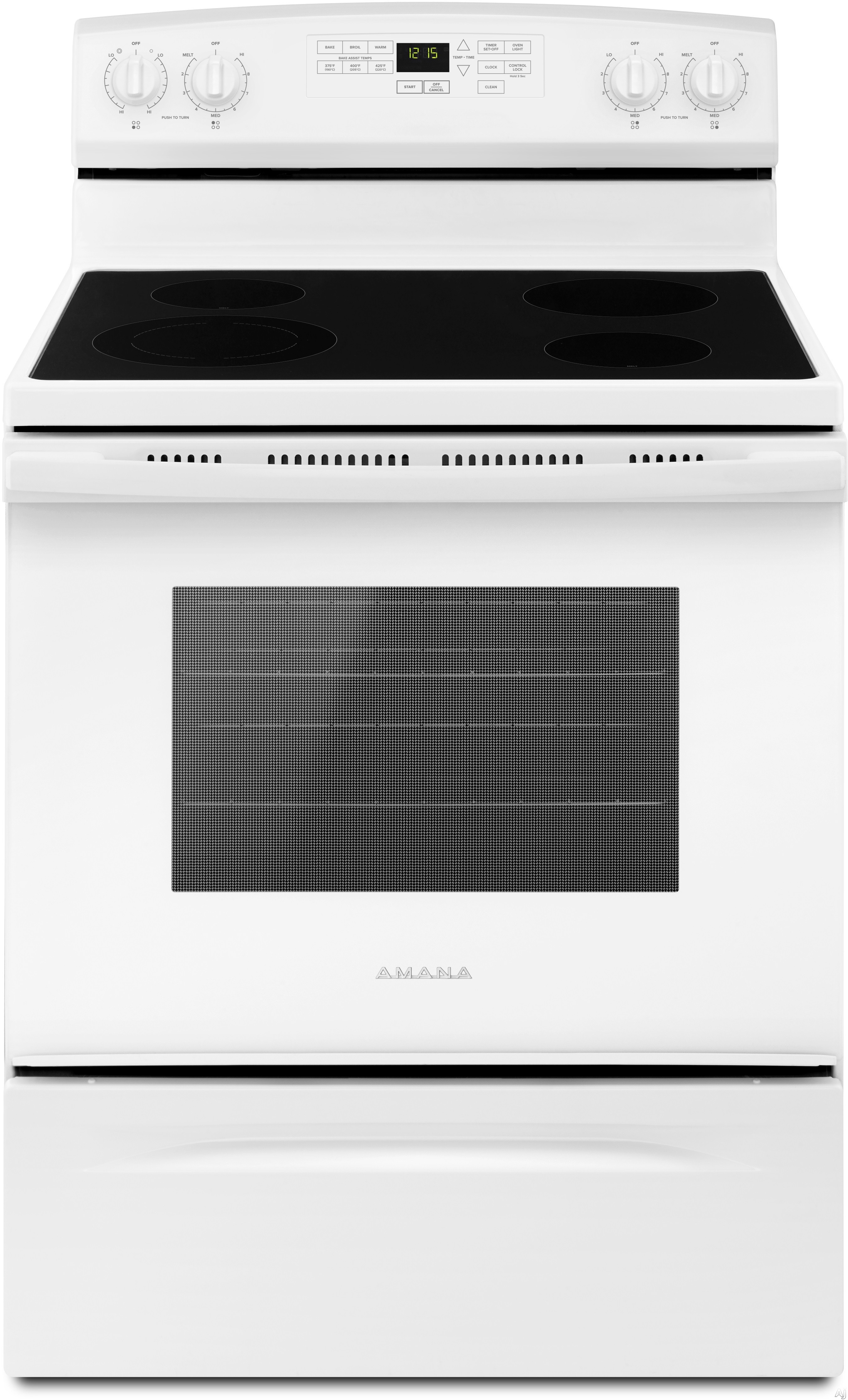 Amana AER6603SFW 30 Inch Electric Range with 4.8 cu. ft. Capacity, 4 Radiant Heating Elements, Custom Broil, Temp Assure Cooking System, Bake Assist Temps, Warm Hold, Oven Lockout, Extra-Large Window, Sabbath Mode and Self Clean: White