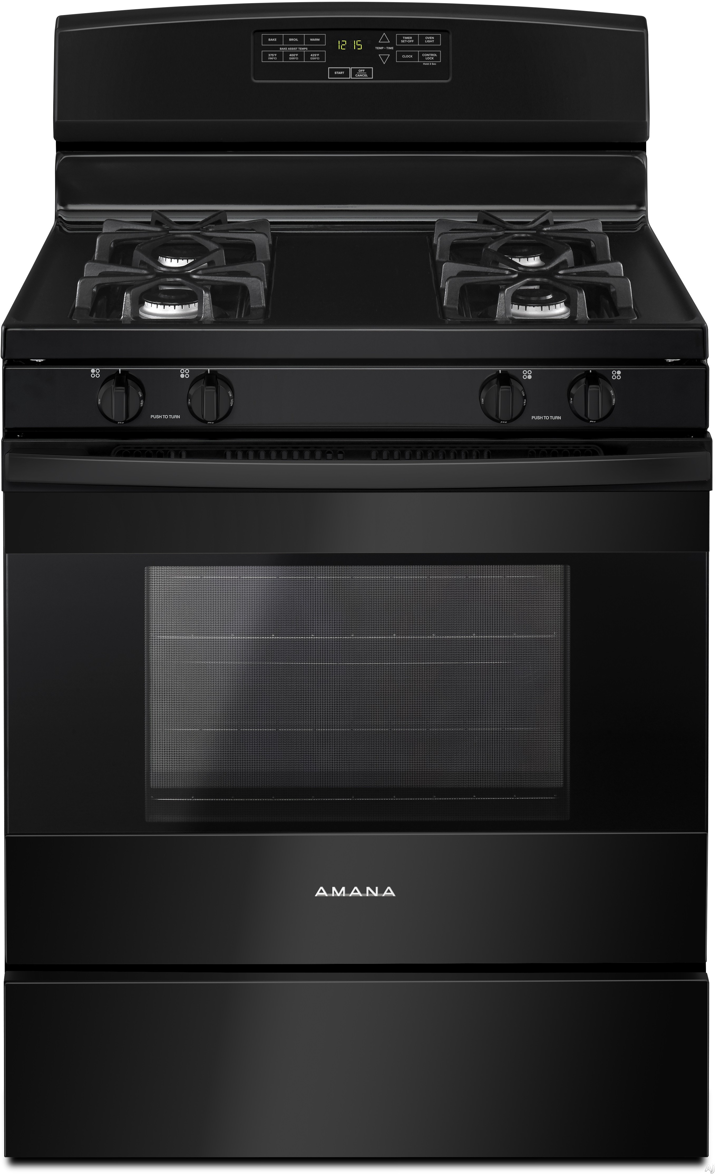 Amana Agr6303mfb 30 Inch Gas Range With Bake Assist, Easy Touch Controls, Warm Hold, 4 Sealed Burners, 5.0 Cu. Ft. Oven Capacity, Extra-large Oven Window Oven Lockout, Sabbath Mode And Storage Drawer: Black