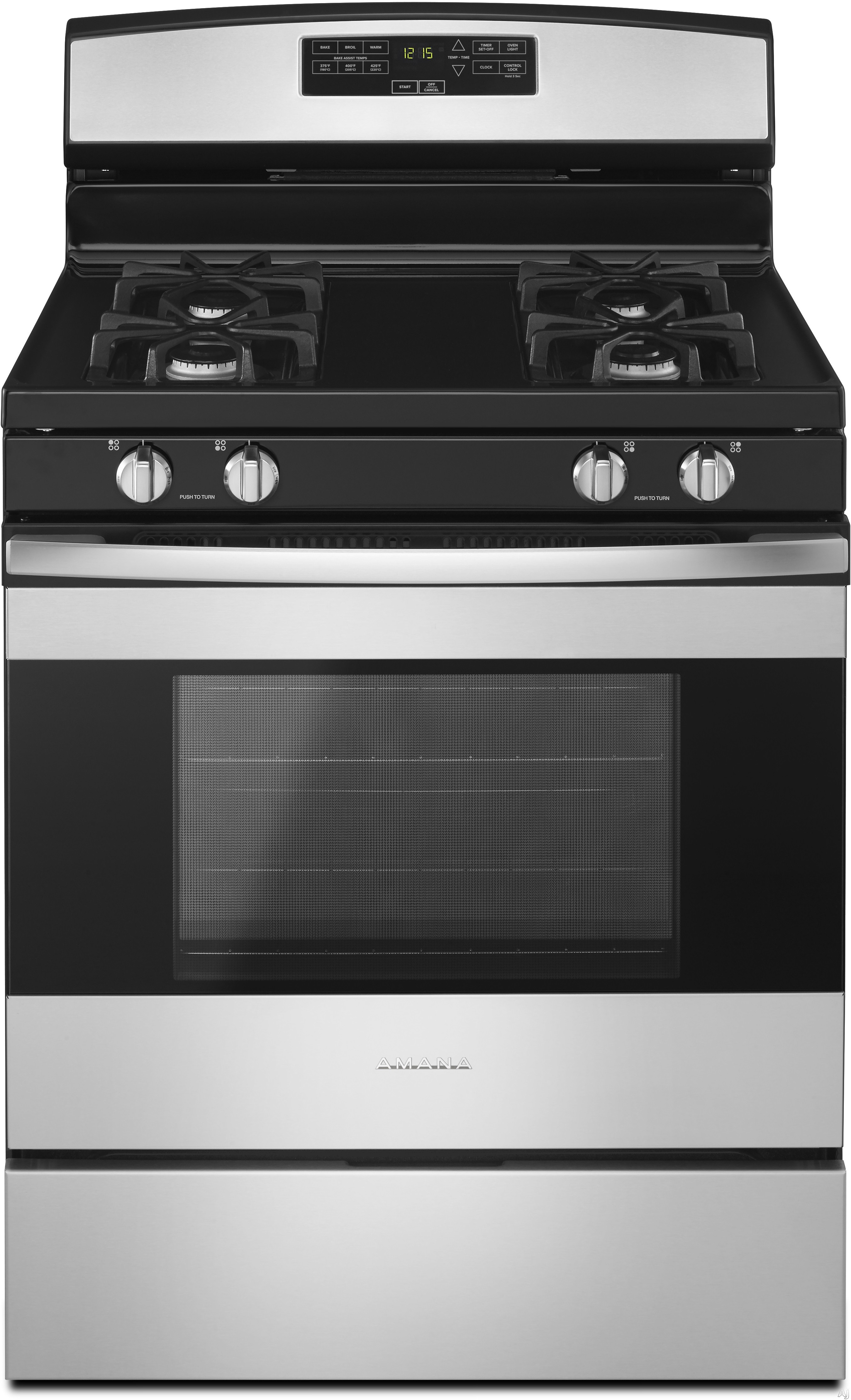 Amana Agr6303mf 30 Inch Gas Range With Bake Assist, Easy Touch Controls, Warm Hold, 4 Sealed Burners, 5.0 Cu. Ft. Oven Capacity, Extra-large Oven Window Oven Lockout, Sabbath Mode And Storage Drawer