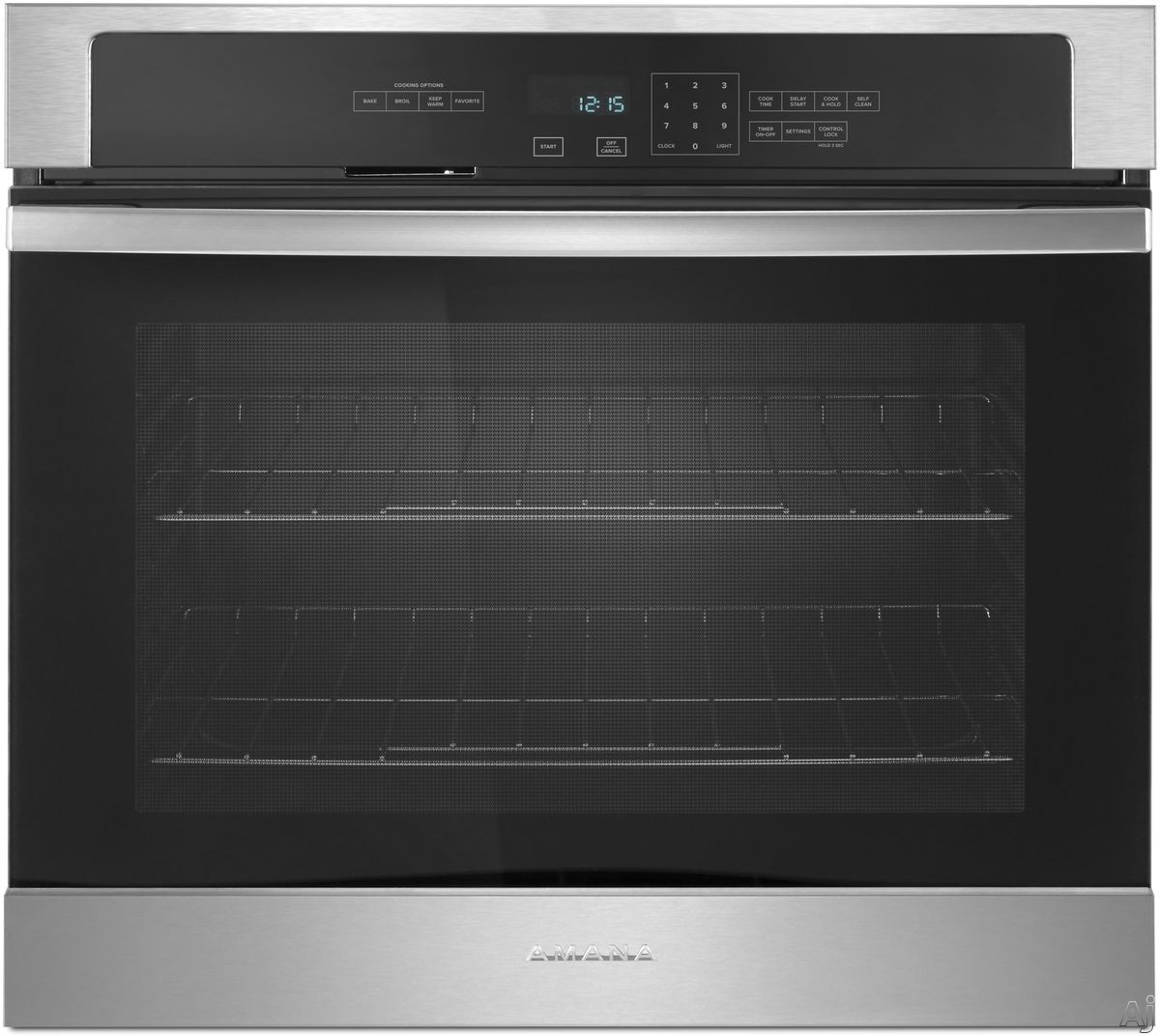 Picture of Amana AWO6317SF 27 Inch Single Electric Wall Oven with 43 cu ft Capacity Temp Assure Cooking System Hidden Bake Element Incandescent Lighting Fit System Self-Cleaning ADA Compliant and Sabbath Mode