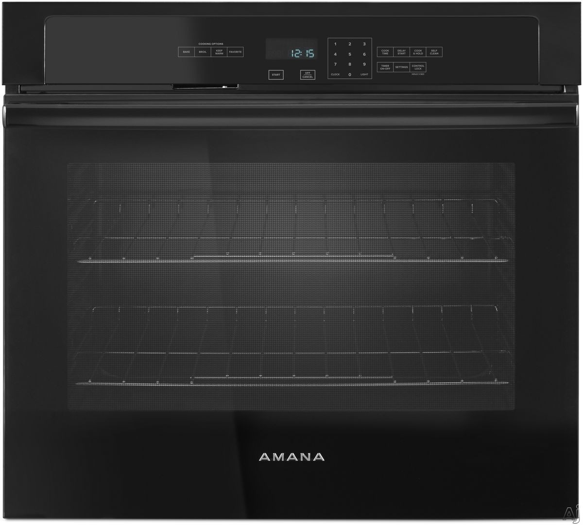 Picture of Amana AWO6317SFB 27 Inch Single Electric Wall Oven with 43 cu ft Capacity Temp Assure Cooking System Hidden Bake Element Incandescent Lighting FIT System Self-Cleaning ADA Compliant and Sabbath Mode Black