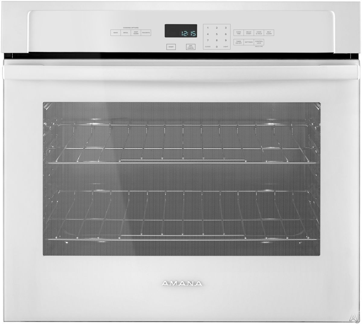 Picture of Amana AWO6313SFW 30 Inch Single Electric Wall Oven with 5 cu ft of Capacity Temp Assure Cooking System Hidden Bake Element Incandescent Lighting Fit System Self-Cleaning ADA Compliant and Sabbath Mode White