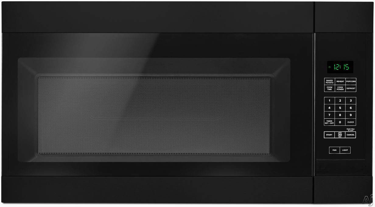Image of Amana AMV2307PFB 30 Inch Over the Range Microwave with Auto Defrost, 2 Speed Fan, 300 CFM, 1.6 cu. ft. Capacity, Add 30 Seconds Feature, 12 Inch Turntable and Cooktop Surface Light: Black