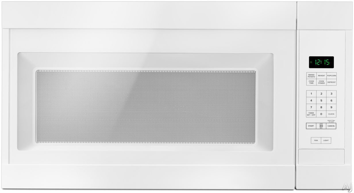 Image of Amana AMV2307PFW 30 Inch Over the Range Microwave with Auto Defrost, 2 Speed Fan, 300 CFM, 1.6 cu. ft. Capacity, Add 30 Seconds Feature, 12 Inch Turntable and Cooktop Surface Light: White