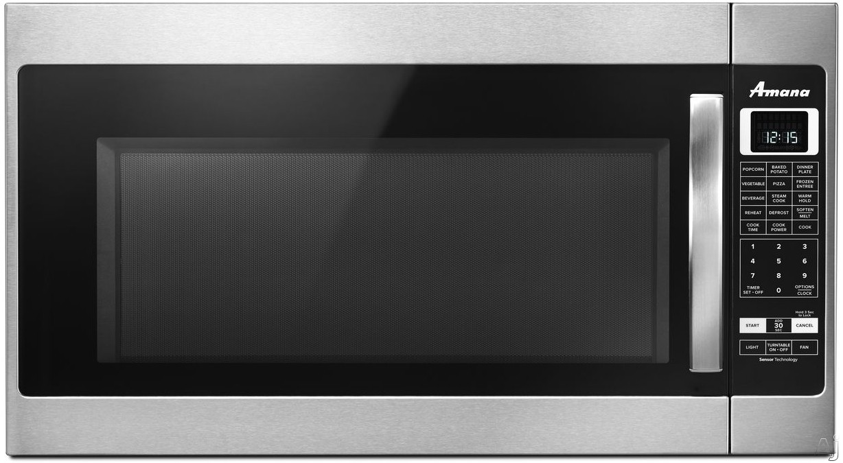 Image of Amana AMV6502RE 2.0 cu. ft. Over the Range 1,000 Watt Microwave with Sensor Cooking, Steam Cooking, Auto Adapt 400 CFM Venting Fan, Digital Display and 5 Quick-Touch Cook Settings