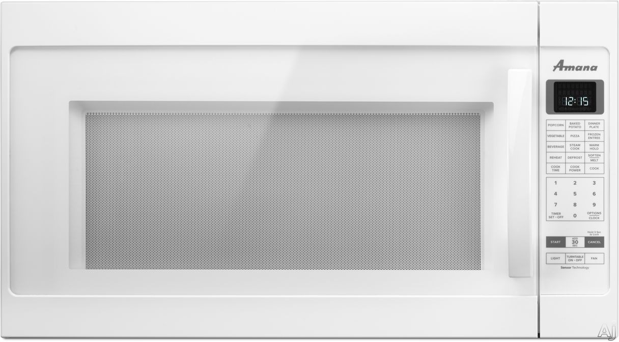 Image of Amana AMV6502REW 2.0 cu. ft. Over the Range 1,000 Watt Microwave with Sensor Cooking, Steam Cooking, Auto Adapt 400 CFM Venting Fan, Digital Display and 5 Quick-Touch Cook Settings: White