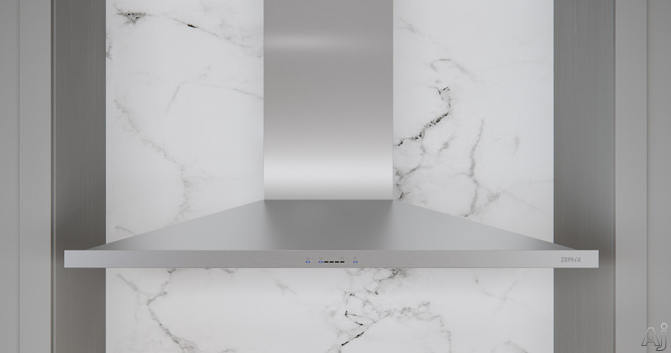 Image of Zephyr Europa Anzio Series ZANM90CS 36 Inch Wall Mount Chimney Hood with Titanium Coating, ICON Touch®, ACT™, Anti-Smudge and 600 CFM Blower: Stainless Steel