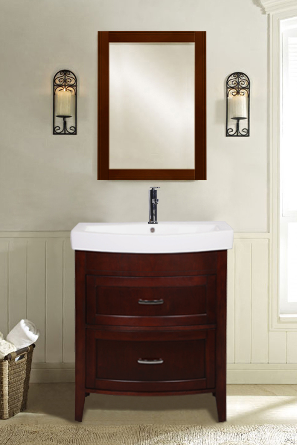 Empire Industries Arch Collection A2102DC 20 Inch Freestanding Vanity with 2 Drawers for Your Royale Collection Ceramic Drop In Bathroom Sink Dark Cherry