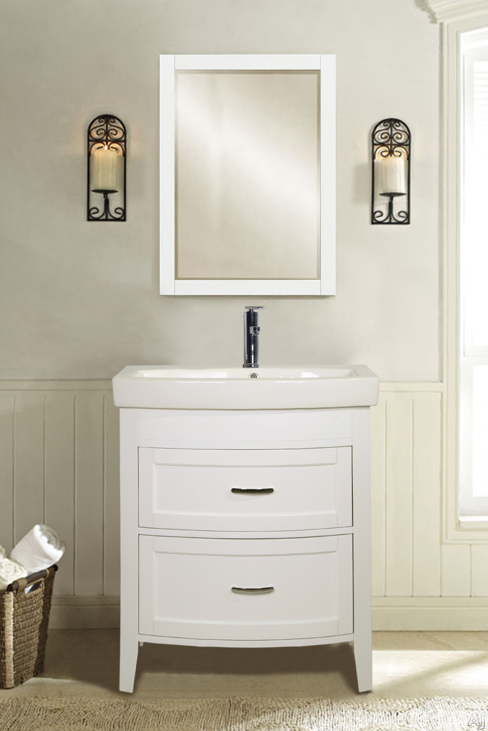 Empire Industries Arch Collection A2102W 20 Inch Freestanding Vanity with 2 Drawers for Your Royale Collection Ceramic Drop In Bathroom Sink White