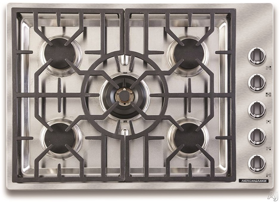 Picture of American Range Vitesse Series ARDCT305L 30 Inch Gas Cooktop with 5 Sealed Burners Continuous Grates 73000 BTU of Total Cooking Output Simmer Setting Automatic Re-Ignition Die-Cast Black Satin Knobs and Chrome Trim Liquid Propane