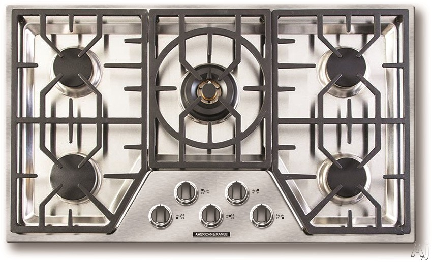 Picture of American Range Vitesse Series ARDCT365 36 Inch Gas Cooktop with 5 Sealed Burners Continuous Grates 78000 BTU of Total Cooking Output Simmer Setting Automatic Re-Ignition Die-Cast Black Satin Knobs and Chrome Trim