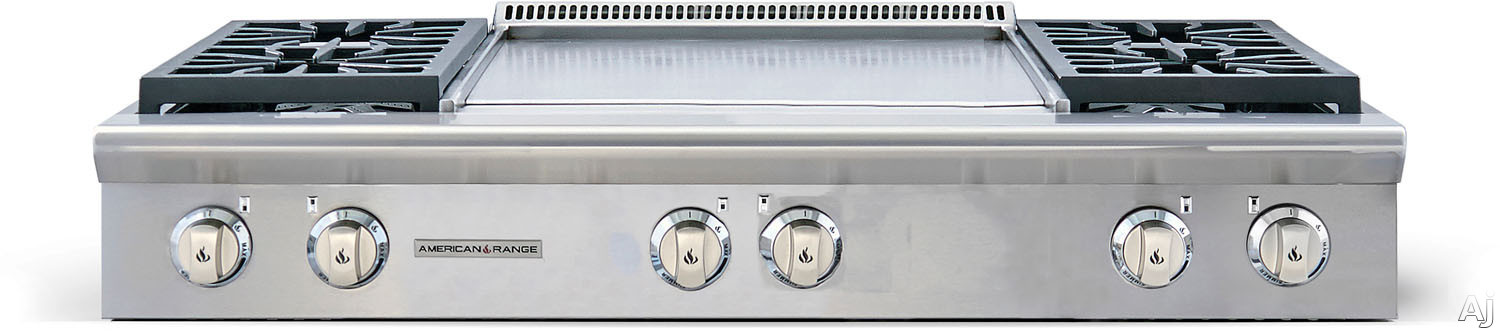 American Range Performer Series AROBSCT4482GD 48 Inch Slide-In Gas Rangetop with 4 Open Burners, 22 Inch Griddle, Continuous Cast Iron Grates and Fail-Safe System