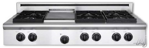 American Range Performer Series AROBSCT448GDGR 48 Inch Slide-In Gas Rangetop with 4 Open Burners, 11 Inch Griddle, 11 Inch Searing Grill, Continuous Cast Iron Grates and Fail-Safe System
