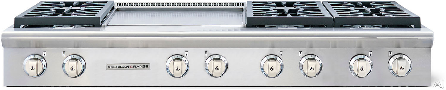 American Range Performer Series AROBSCT6602GD 60 Inch Slide-In Gas Rangetop with 6 Open Burners, 22 Inch Griddle, Continuous Cast Iron Grates and Fail-Safe System