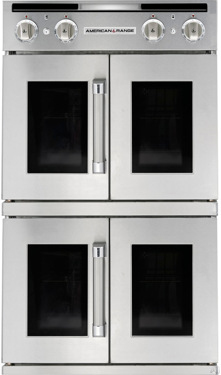 American Range Legacy Series AROFFG230 30 Inch Double French Door Gas Wall Oven with 4.7 cu. ft. Capacity, Innovection Convection, Manual Clean, Infrared Broiler, Proofing and Porcelainized Interior