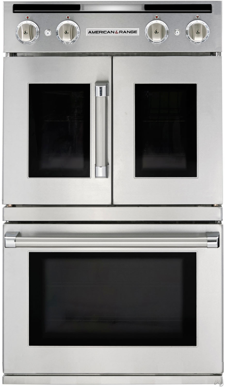 American Range Legacy Series AROFSG230N 30 Inch Double French/Chef Door Gas Wall Oven with 4.7 cu. ft. Capacity, Innovection Convection, Manual Clean, Infrared Broiler, Proofing and Porcelainized Inte