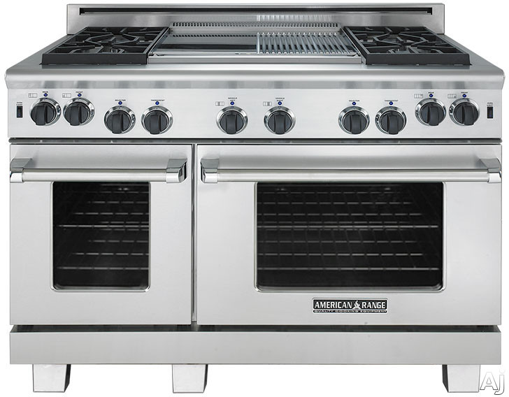 American Range Cuisine Series ARR4482GD 48 Inch Freestanding Gas Range with 4 Sealed Burners 17 000 BTU 44 cu ft Convection Oven 24 cu ft Secondary Oven 22 Inch Griddle and Continuous Cast Iron Grates