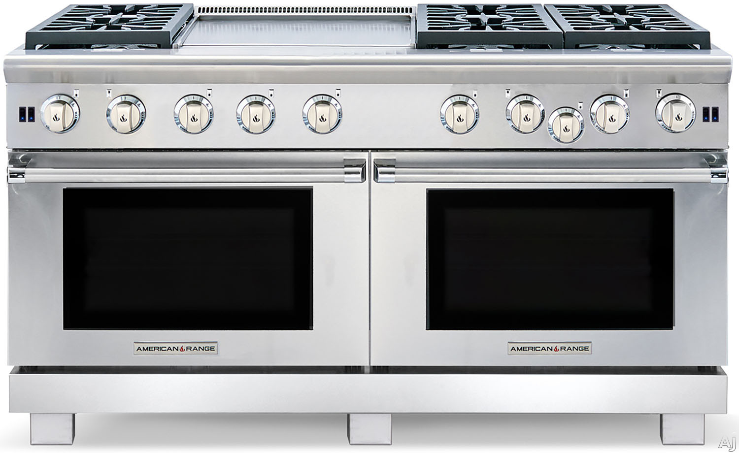 American Range Performer Series ARROB6602GD 60 Inch Pro-Style Gas Range with 6 Open Burners, 4.3 cu. ft. Manual Clean Ovens, Innovection Convection System, 1,800-¦F Ceramic Infrared Broiler and 22