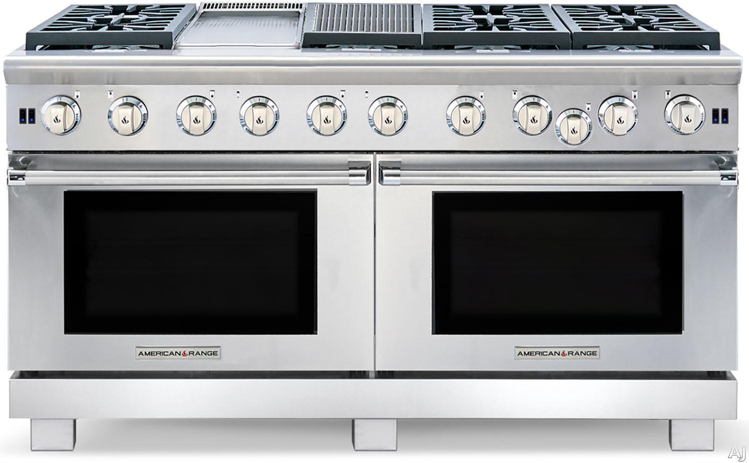 American Range Performer Series ARROB660GDGRN 60 Inch Pro-Style Gas Range with 6 Open Burners, 4.3 cu. ft. Manual Clean Ovens, Innovection Convection, 1,800-¦F Infrared Broiler, 11 Inch Griddle and