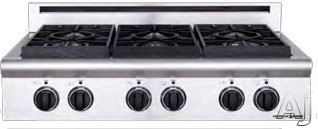 American Range Legend Series ARSCT364GR 36 Inch Pro-Style Gas Rangetop with 4 Sealed Burners, 11 Inch Grill, Variable Infinite Flame Settings, Commercial Grade Grates and Fail-Safe System