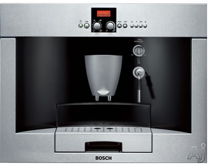 Picture of Bosch Benvenuto Series TKN68E75UC 24 Inch Built-In Fully Automatic Coffee Machine with AromaSwirl Brewing System Separate Pre-Ground Coffee Container Height Adjustable Coffee Dispenser Removable Drip Tray and 14 oz Fresh Bean Container