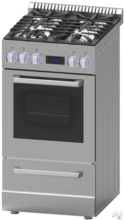 Avanti Elite DGR20P3S 20 Inch Freestanding Gas Range with LED Back-Lit Controls, Storage Drawer, Broiler Pan, 4 Sealed Burners, Digital Clock, 2.1 cu. ft. Capacity and Anti-Tip Bracket