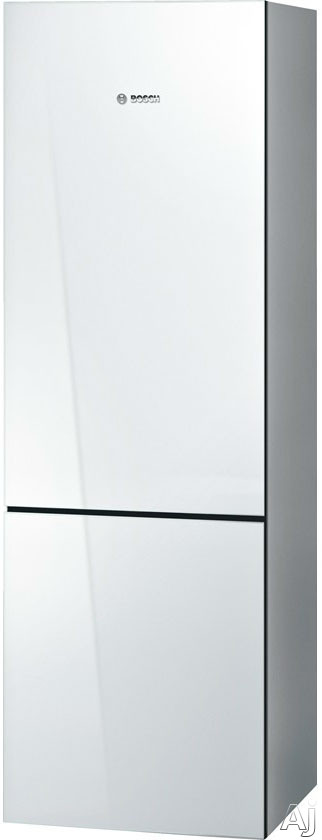 Bosch 800 Series B10CB80NVW 24 Inch Counter Depth Bottom-Freezer Refrigerator with 10.0 cu. ft. Capacity, 2 Spill Proof Glass Shelves, Gallon Door Storage, 1 Crisper Drawer and 3 Removable Freezer Drawers: White