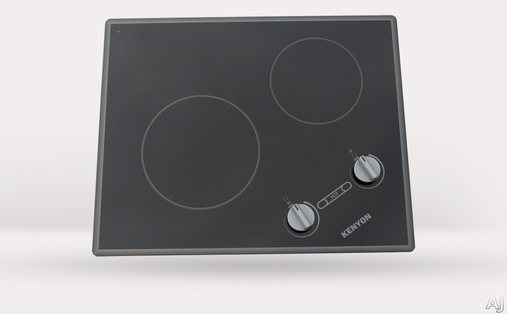 Kenyon Glacier Series B41706 21 Inch Smoothtop Electric Cooktop with 2 Radiant Ribbon Elements, Hot Burner Indicator Lights and Analog Controls: 120 Volts