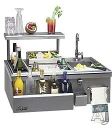 Alfresco ADT30 30 Inch Built in Beverage Center with Sink Insulated Ice Compartment Bottle Bins Front Speedrail Towel Rack and Stainless Steel Construction