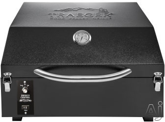 """Traeger PTG BBQ02001 21"""" Freestanding Wood Pellet Grill with 172 sq. in. Grilling Area, 16,000 BTUs, Built-in Thermometer and Simple Latch Locking"""